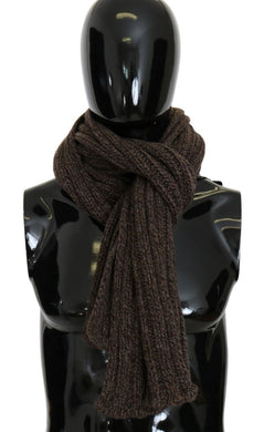 Brown Cashmere Wool Knitted Scarf