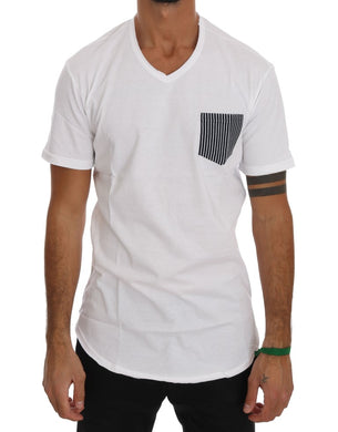 White Cotton V-neck T-Shirt