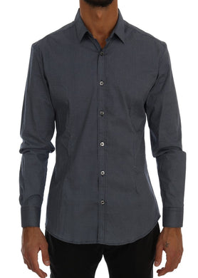 Blue Cotton Slim Fit Casual Shirt