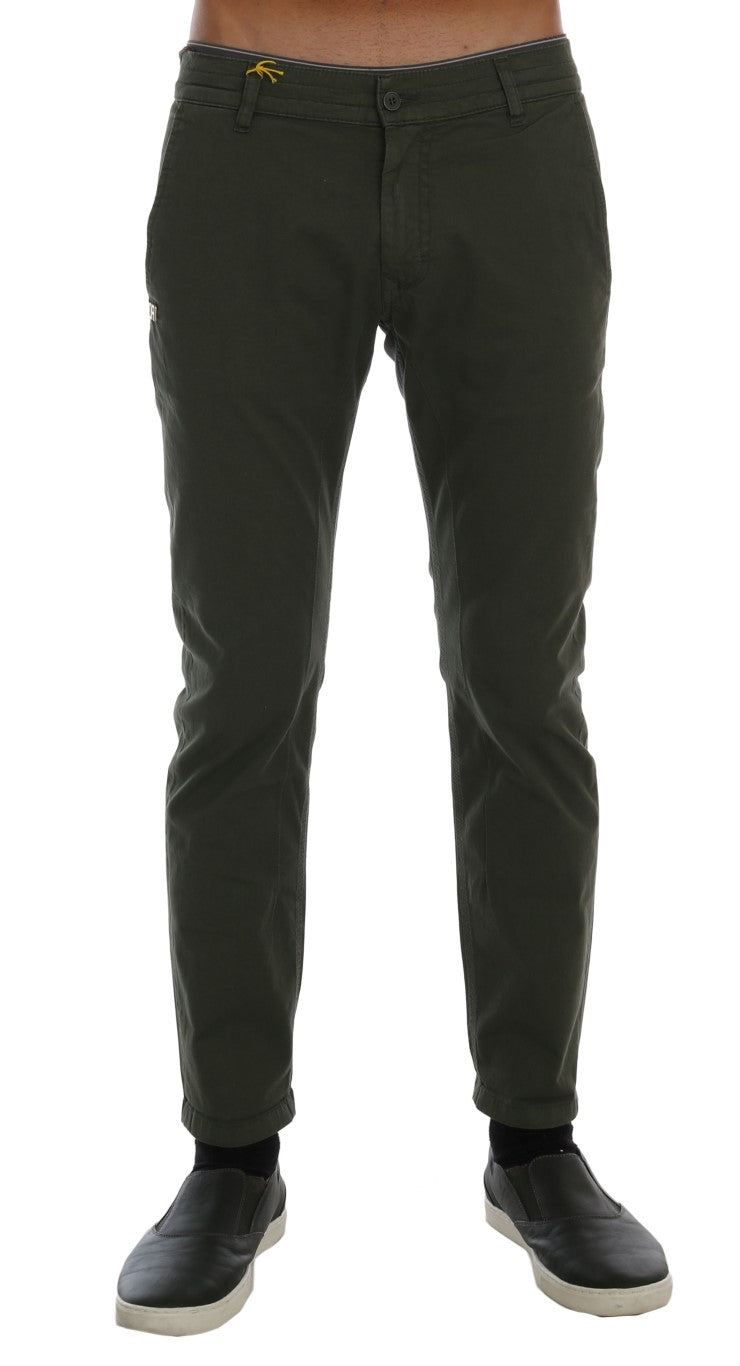 Green Cotton Stretch Slim Fit Chinos