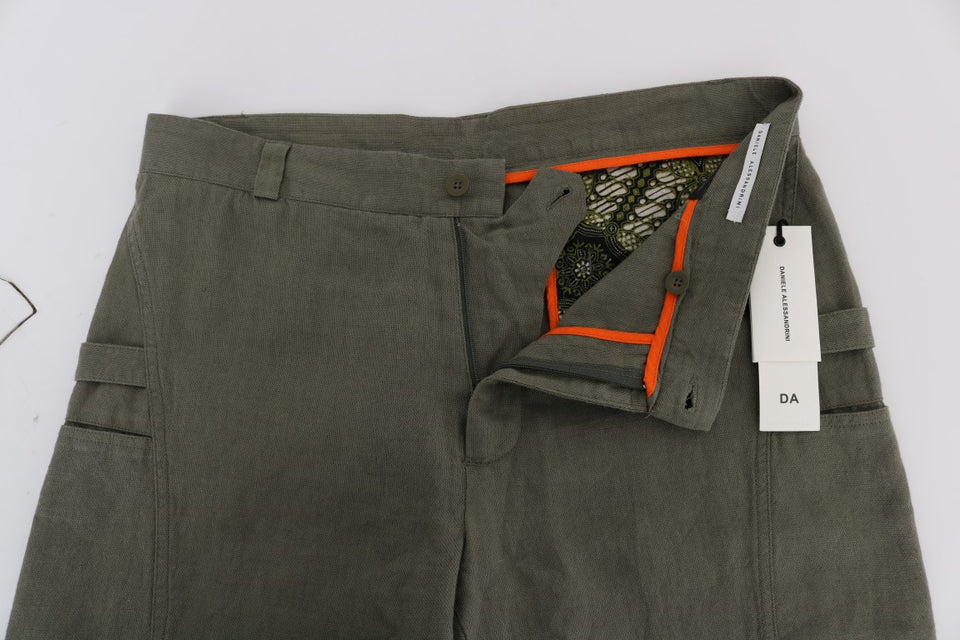 Green Cotton Linen Pants