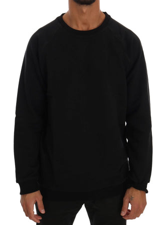 Black Crewneck Cotton Sweater