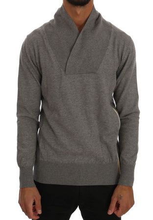 Gray Cotton Pullover Sweater