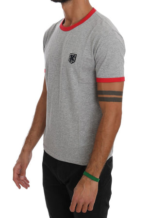 Gray Red Cotton Crewneck T-Shirt