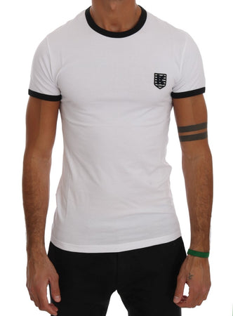 White Cotton Stretch Crewneck T-Shirt