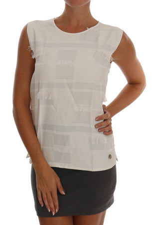White Fringes Blouse Tank Top