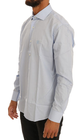 Blue Cotton Slim Fit Dress Shirt