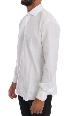White Cotton Slim Fit Dress Shirt