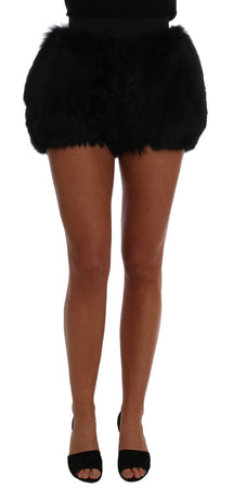 Black Lamb Fox Fur Mini Hot Pants
