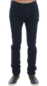 Blue Cotton Stretch Slim Fit Pants