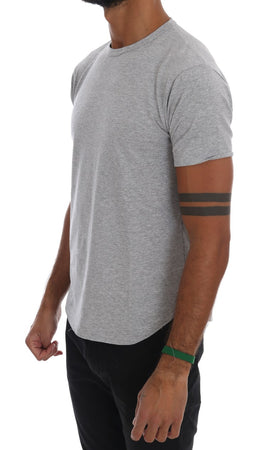 Gray Cotton Stretch Crew-neck T-Shirt
