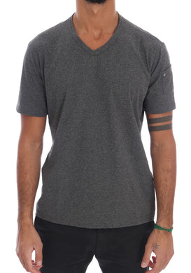 Gray Cotton V-neck T-Shirt