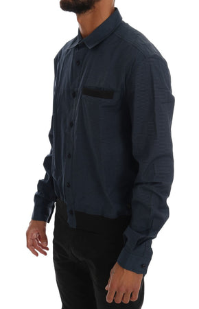 Blue Casual Cotton Stretch Long Sleeve Shirt