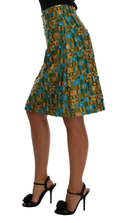 Multicolor Jacquard Straight Pencil Skirt