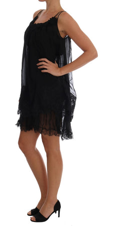 Black Silk Lace Chemise Dress