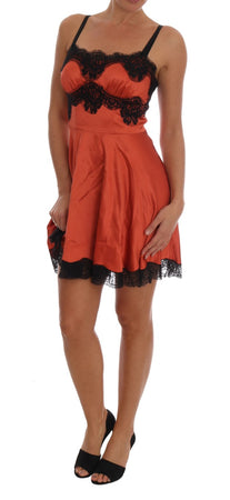 Orange Silk Stretch Black Lace Lingerie Dress