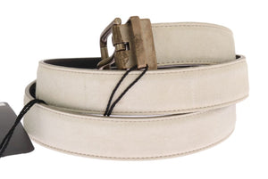 White Leather Gold Buckle Belt