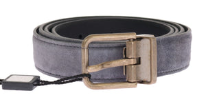 Gray Leather Gold Buckle Belt