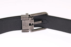 Black Leather Gray Buckle Belt