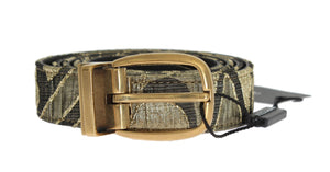 Gold Jacquard Leather Belt