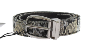 Black Leather Brocade Belt