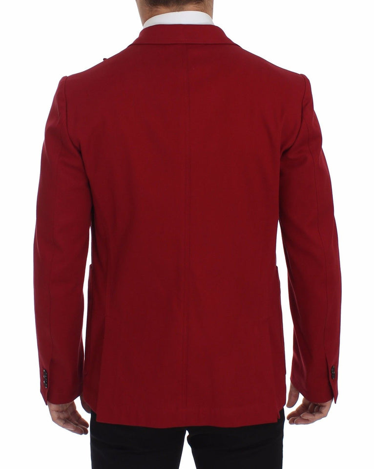 Red Cotton Stretch Blazer