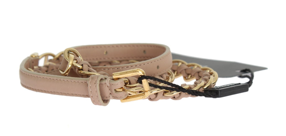 Beige Leather Gold Chain Belt