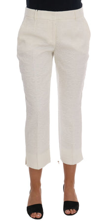 White Floral Brocade Capri Pants