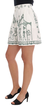 White Green Sicily Motive Print Shorts