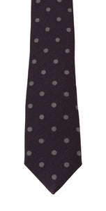 Bordeaux Silk Polka Dot Slim Tie