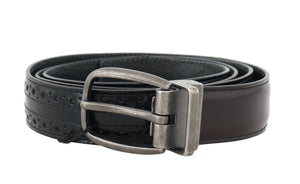 Black Brown Perforated Leather Belt