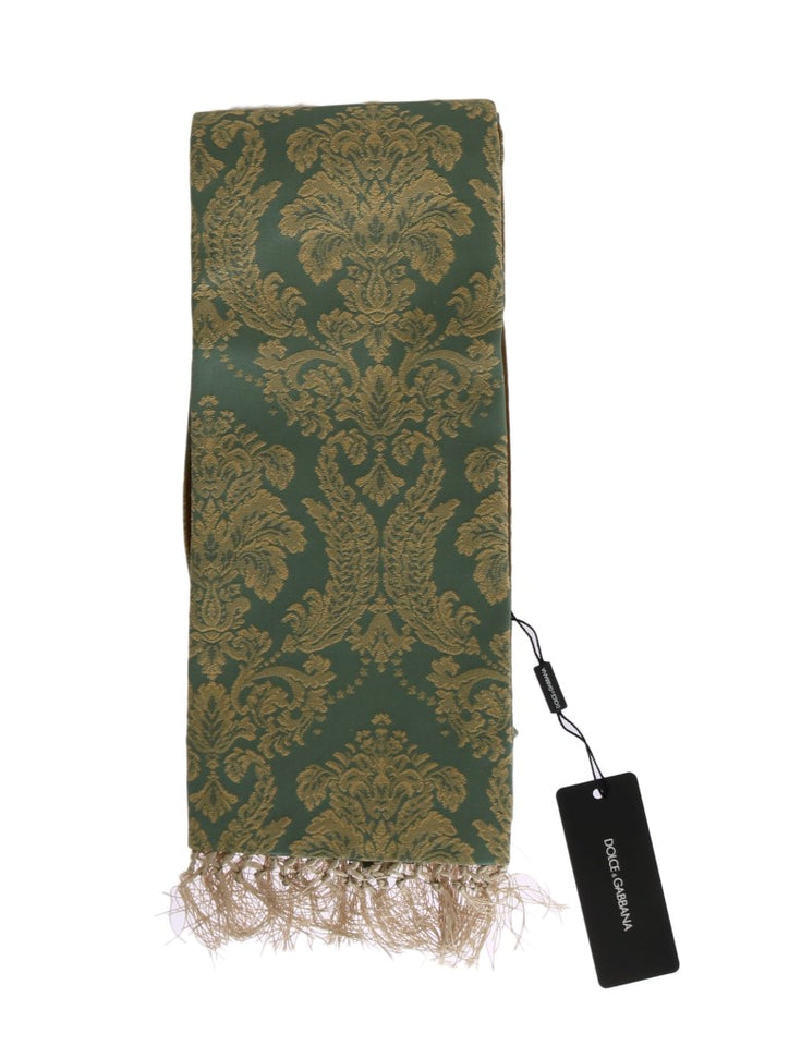 Green Gold Jacquard Cotton Scarf