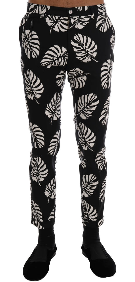 White Black Leaf Cotton Stretch Slim Pants