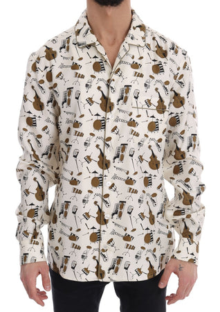 White Silk JAZZ Motive Print Shirt