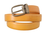Yellow Leather Gold Buckle Belt