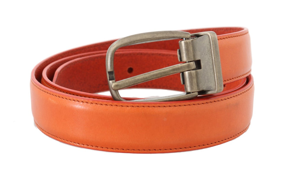Orange Leather Gold Buckle Belt