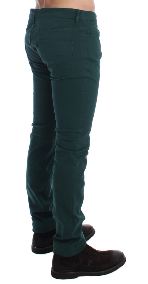 Green Slim Fit Cotton Stretch Pants Jeans