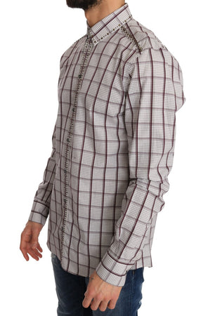 Pink White Check Cotton Slim Fit Shirt