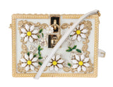 Gold Daisy Crystal White Leather Bag