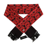 Red Silk Music Print Scarf