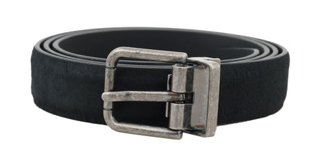 Black Leather Fur Silver Buckle Belt