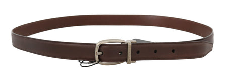 Brown Leather Gray Oval Buckle Belt