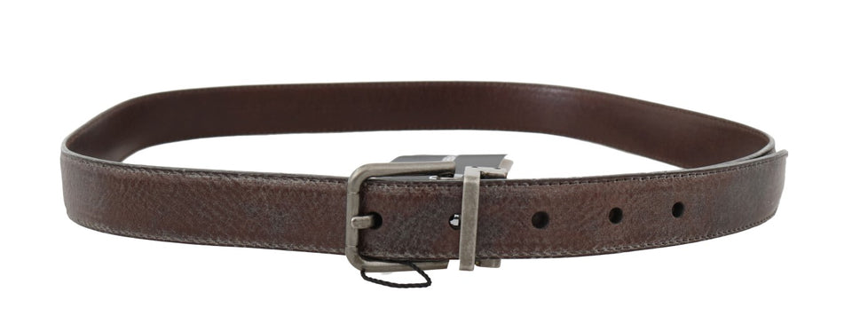 Brown Vintage Leather Silver Buckle Belt
