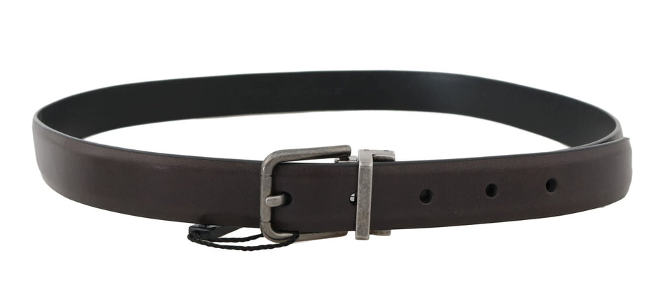 Brown Leather Gray Buckle Belt