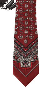 Bordeaux Silk Gray Bird Print Tie
