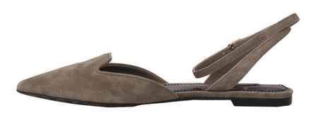 Flats Beige Suede Leather Ankle Strap