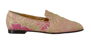 Gold Pink Brocade Loafers Floral Flats