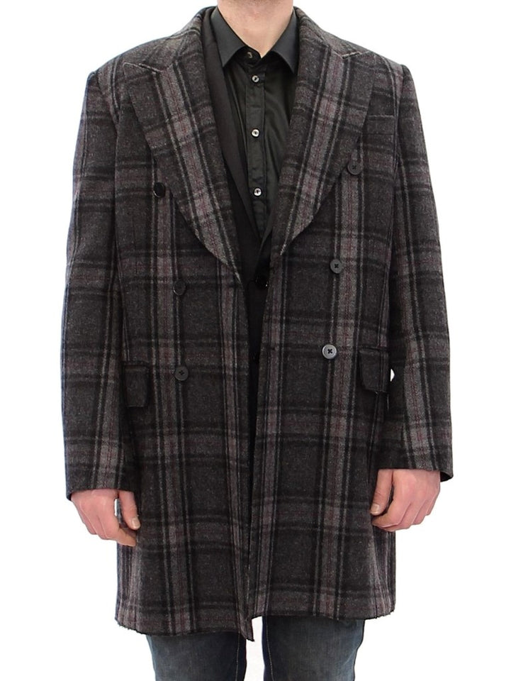 Gray Double Breasted Coat Jacket