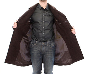 Brown Double Breasted Long Peacoat Jacket