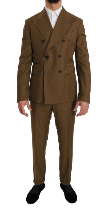 Brown Wool Double Breasted Slim Fit Suit